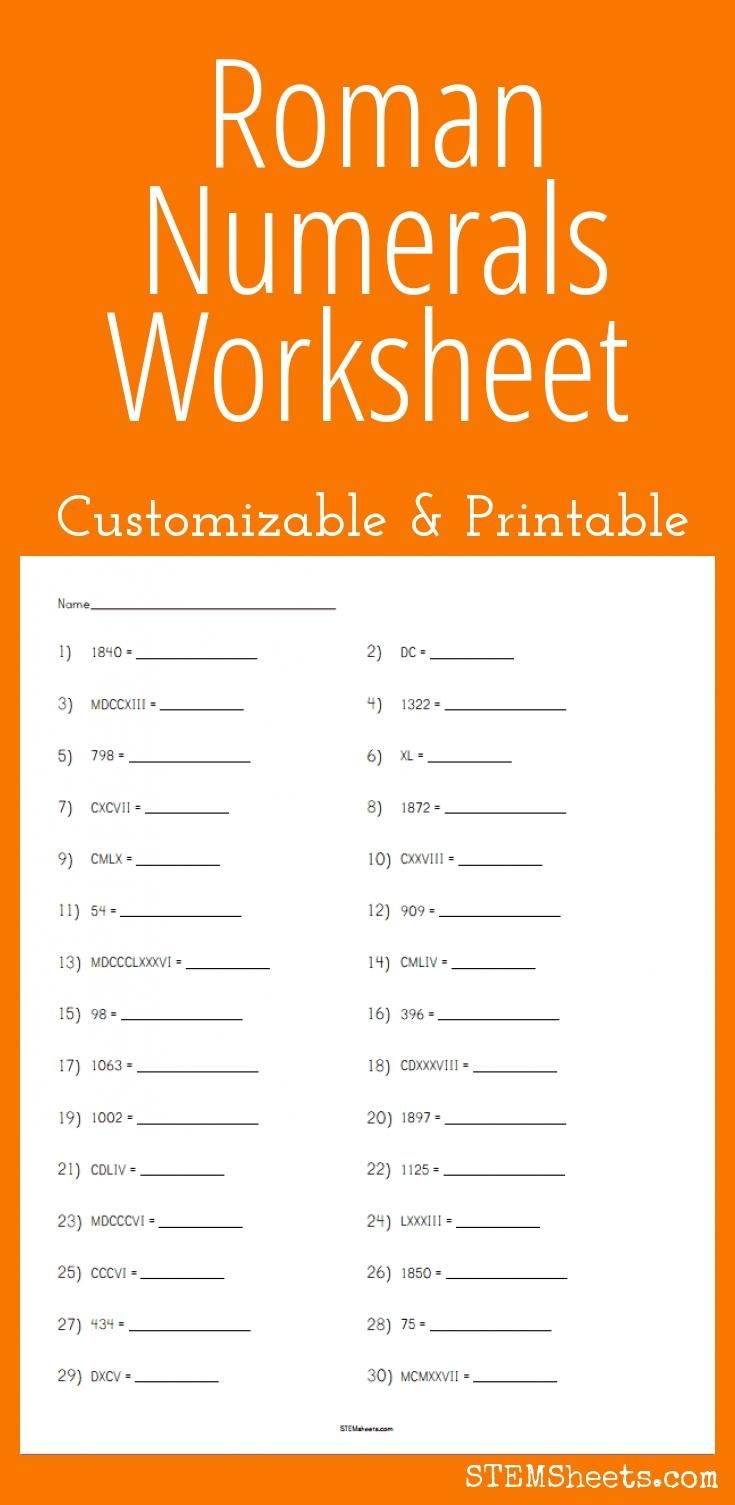 Roman Numerals Worksheet - Customizable