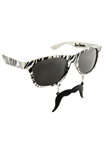 Zebra Sun-staches #Sunglasses #Mustache we got these for maria for graduation i have pics of them on my facebook lol