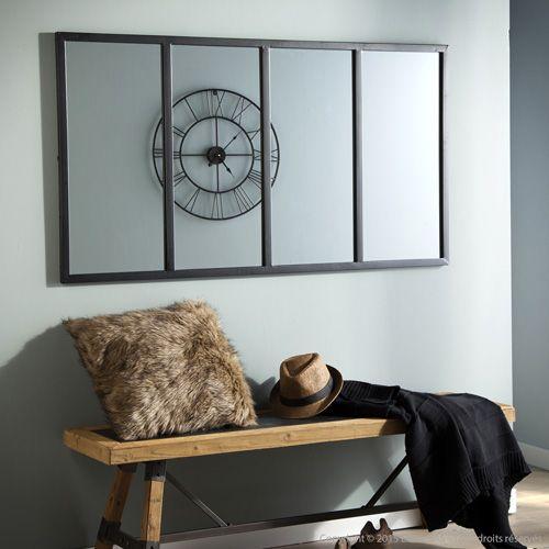 Miroir atelier verrière horizontale rectangulaire en métal noir Akhal   http://www.homelisty.com/miroir-industriel/