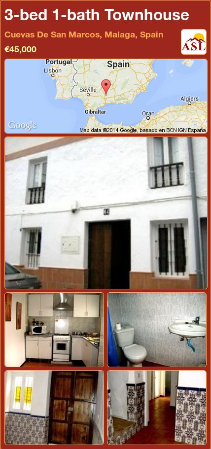 3-bed 1-bath Townhouse in Cuevas De San Marcos, Malaga, Spain ►€45,000 #PropertyForSaleInSpain