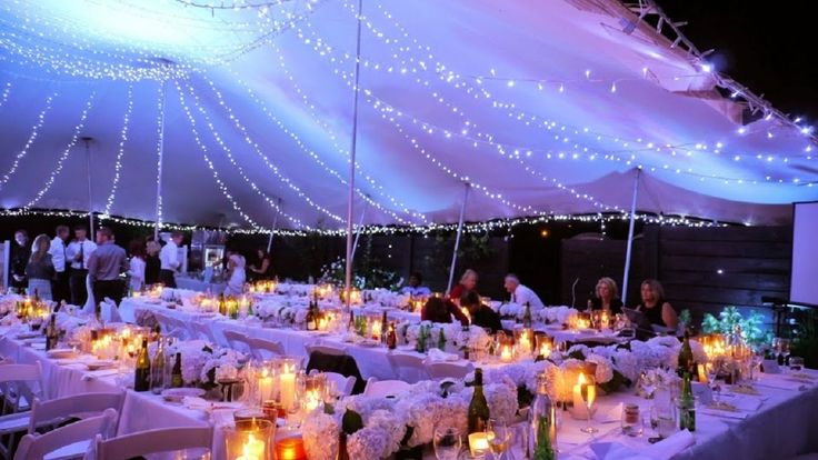 Fairy lights at their best in an 18 x 16 Canopy rig #weddings #stretchtentsnz #stretchtents #stretchtentsbop