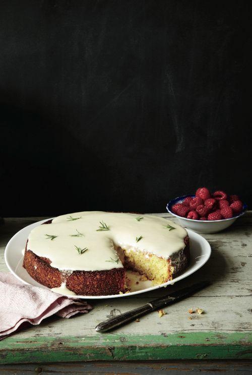 Almond Cake with Lemon and Crème Fraîche Glaze.
