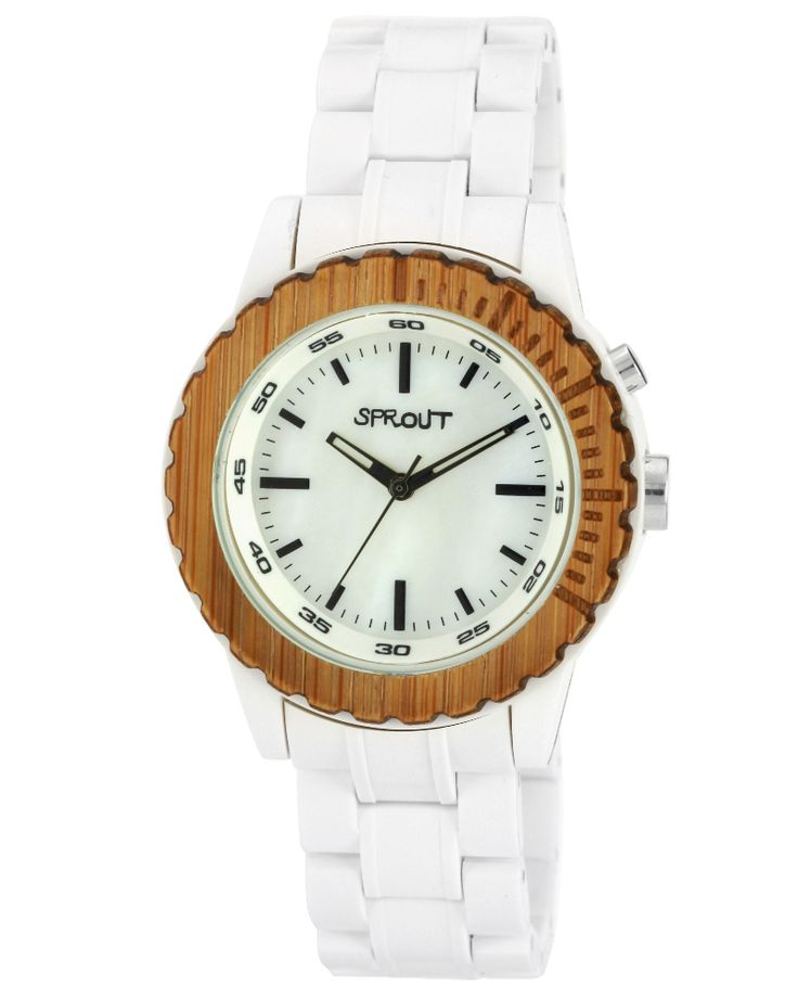 The sprout wood bezel Eco-friendly watch has 80% or more biodegradable materials. Beautifully-crafted, made to last. $119, Eco Guardian.