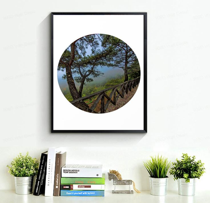 Forest Print Misty Mountain Green Printable Art Relax
