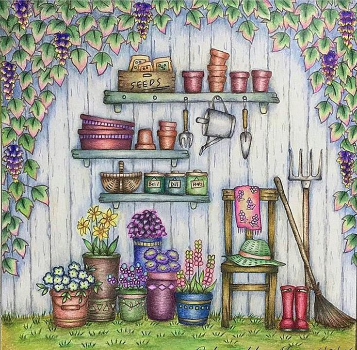 78 best Romantic Country Coloring images on Pinterest Adult - best of coloring pages watering plants
