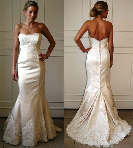 Ivory Silk Duchess Satin Soft Fluted Bridal Gown Strapless Scoop Neckline