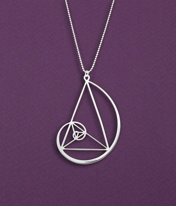 golden triangle with Golden spiral necklace- Fibonaci pendant- Sterling silver statement necklace