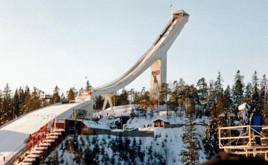Holmenkollen Ski Jump Arena in winter