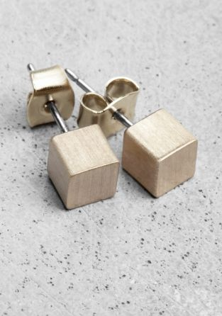 & OTHER STORIES | Cube earrings | These stud earrings have a clean design with a small brushed metal cube.