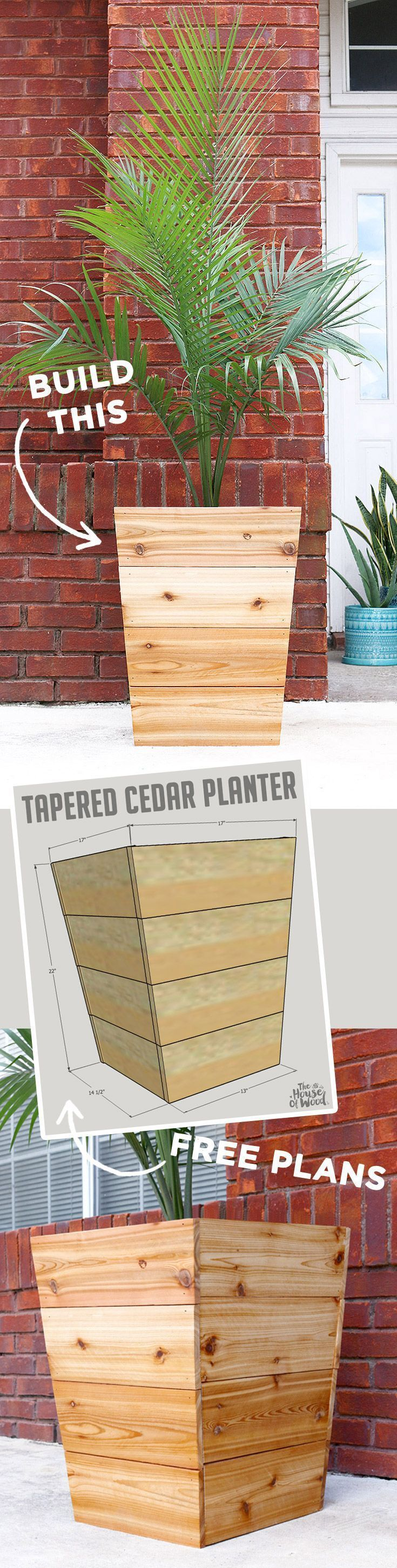 How to build a DIY modern, tapered cedar planter with free design plans and tutorial