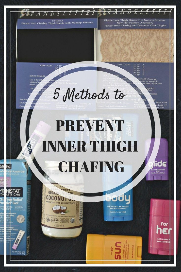 Protect your inner thighs from chafing with these 5 tricks! Enjoy dresses and shorts this summer free of chub rub!    --    Thigh chafing, inner thigh chafing, chafe, chafing solutions, no more chafing, monistat for chafing, body glide, body glide for chafing, bandelettes, coconut oil for chafing, chub rub, stop chub rub, prevent chub rub