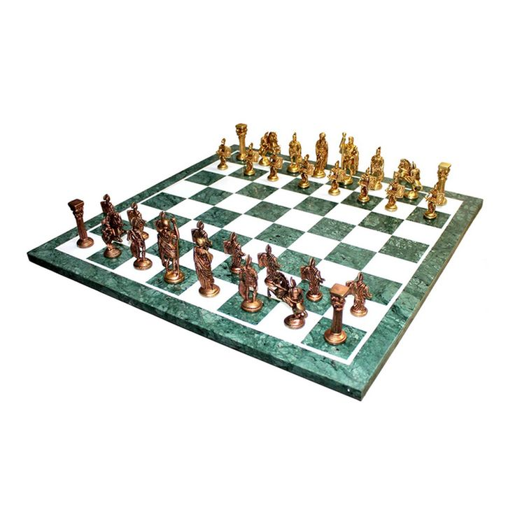 """'Green Giant' - Large Green Marble Chess Set & Roman Brass Pieces - 20"""""""