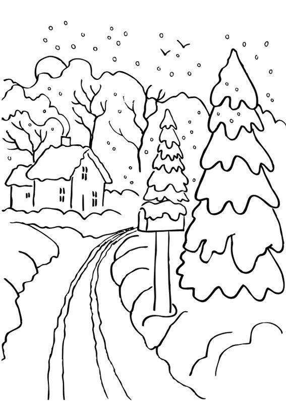 21 Disegni Di Paesaggi Invernali Da Colorare Embroidery Coloring