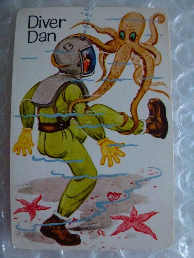 dIVER DAN OLD MAID REPLACEMENT SINGLE SWAP GAME PLAYING CARD VTG 1970'S neocurio #WHITMAN #oldmaid #diverdan #playingcards #1970s #diver #ebay #neocurio