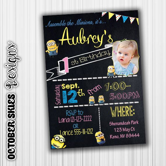 Minion Birthday Invite Picture Card Pink by OctoberSkiesDesigns