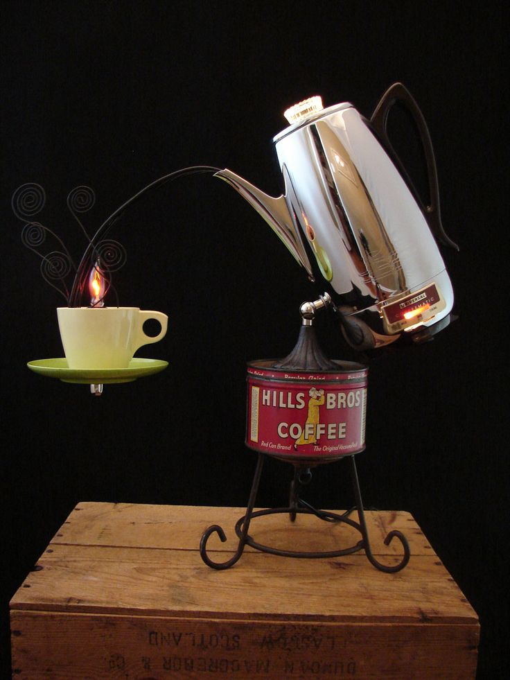 I don't even know how to describe the awesome. Upcycled Vintage Universal Coffee Percolator Lamp. via Etsy.