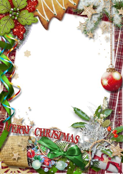 Merry Christmas PNG Photo Frame with Green Bow