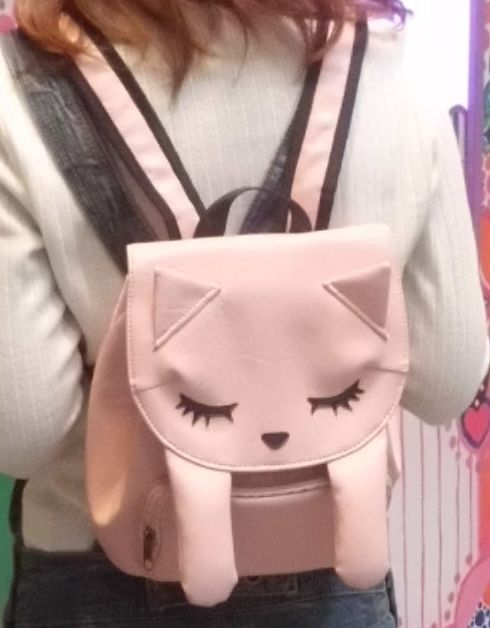 New Poohchan Cat Backpack Schoolbag Pink Ivory Kawaii Harajuku from JAPAN