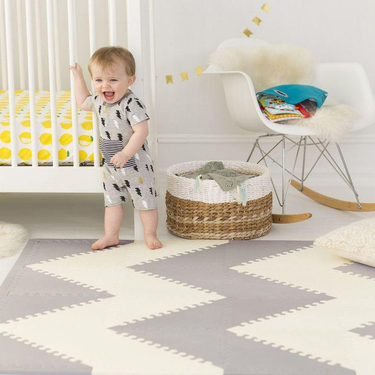 grey/cream stylish foam play mats