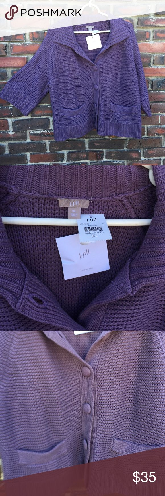 NWT J Jill Amethyst Color Sweater XL NWT J. Jill Amethyst Colored Sweater, size ex L, 5 buttons down the front, three-quarter length wide sleeves, two front pockets, collard . J. Jill Sweaters