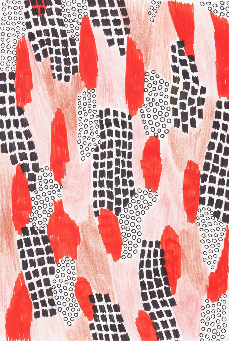www.glassandbones.com, pattern, mark making, design, repeat, red, abstract