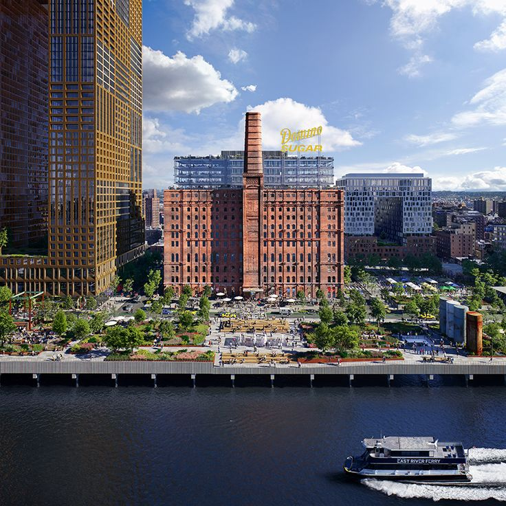 plans for a waterfront park in new york have been revealed that will create a new esplanade as part of williamsburg's redeveloped domino sugar site.