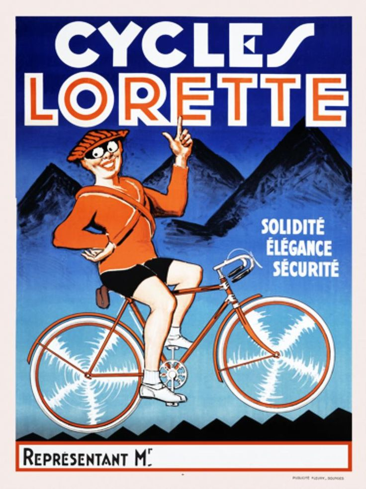 Cycles Lorette original vintage poster from 1920 France. This French transportation poster features a man in orange with big eyes and mask on a bicycle with blue mountains in the background.