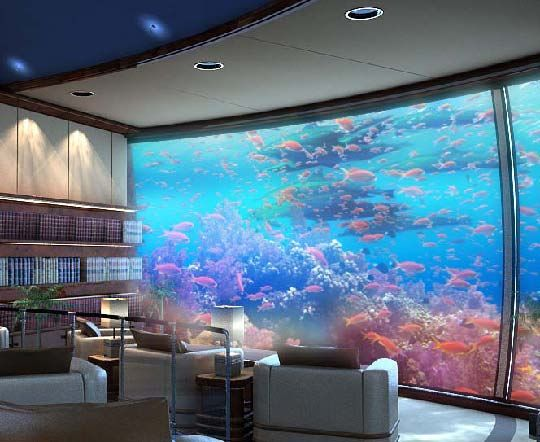 Underwater dwellings h2ome and the poseidon resort built for Fish tank wall