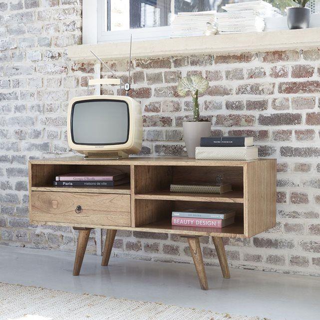Meuble TV en bois de mindy - Largeur 110 cm - 1 tiroir - OSLO BOIS DESSUS BOIS DESSOUS
