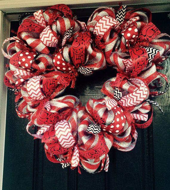 Valentine's Day Wreath Red Heart Wreath Heart by AllMeshedUp2014