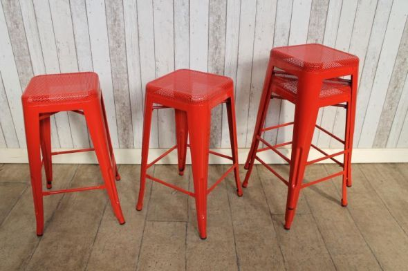 Introducing our fantastic bright red Tolix stackable bar stool; an extremely versatile addition to our large range of Tolix style chairs, stools and tables. - See more at: http://www.peppermillantiques.com/tolix-stackable-bar-stool-red/#sthash.9oXEOdef.dpuf