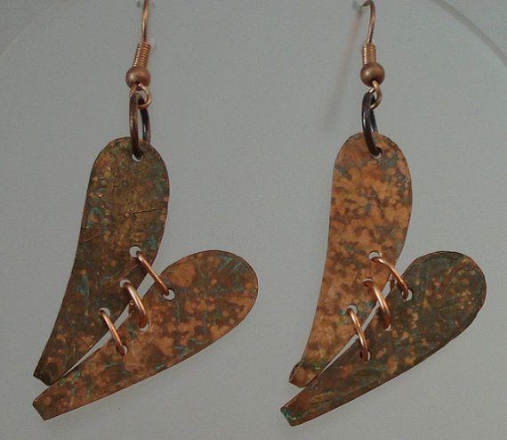One of a kind copper earrings