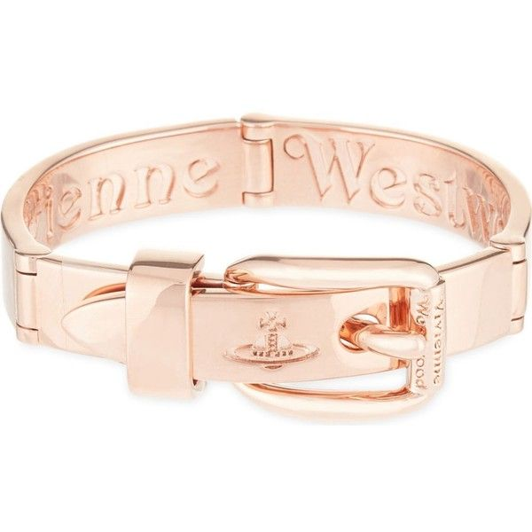 VIVIENNE WESTWOOD JEWELLERY Raphael belt bracelet ($245) ❤ liked on Polyvore featuring jewelry, bracelets, pink gold, rose gold bangle, vivienne westwood, red gold jewelry, vivienne westwood jewellery and vivienne westwood jewelry
