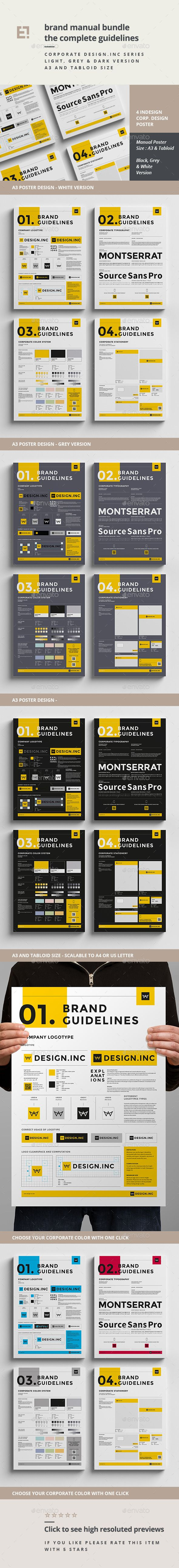 Minimal and Professional Brand Manual and Identity Poster template for creative businesses, created in Adobe InDesign in International DIN A3 and US Tabloid format. Download: http://graphicriver.net/item/-brand-manual-bundle/11285514?ref=ksioks