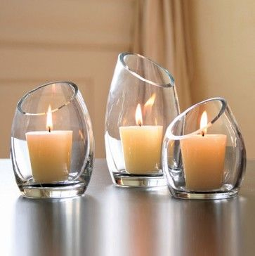 Hearthstone Diagonal Cut Glass Candle Holders - modern - candles and candle holders - Shopko