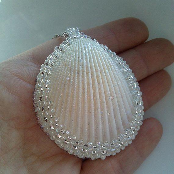 Seashell pendant. Pendant bead. White pendant. Eco pendant. Pendant from sea shells.