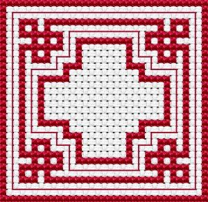 Easy Biscornu cross stitch pattern, free from Alita Designs
