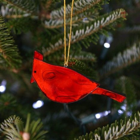 Fire Bird Ornament ~ Handmade glass ornament from Indonesia adds some springtime fun to your holiday