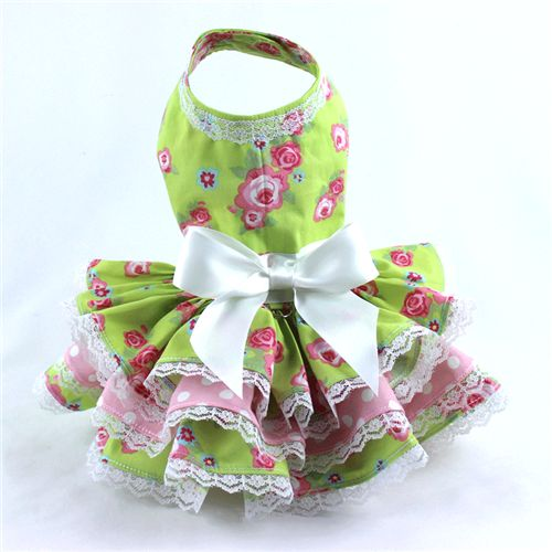 Perfect for spring!  Pink roses print on green cotton dog dress with triple ruffle and lace detail.  Great color combo for any doggie girl!