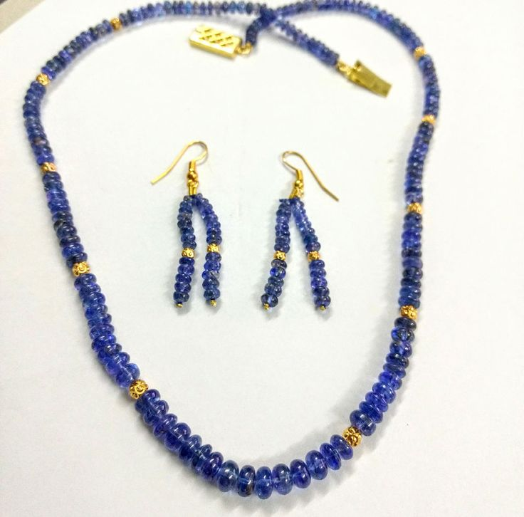 132 TCW Natural blue Tanzanite Round Beads Necklace earrings ,estate vintage  #StrandString