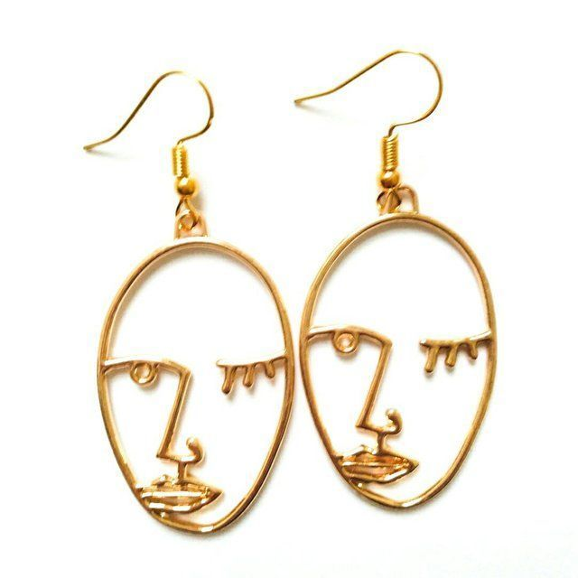 a07b4f8be Brand new handmade gold abstract face line drawing drop earrings Only £5.49  including FREE UK postage and packaging Limited stock available.