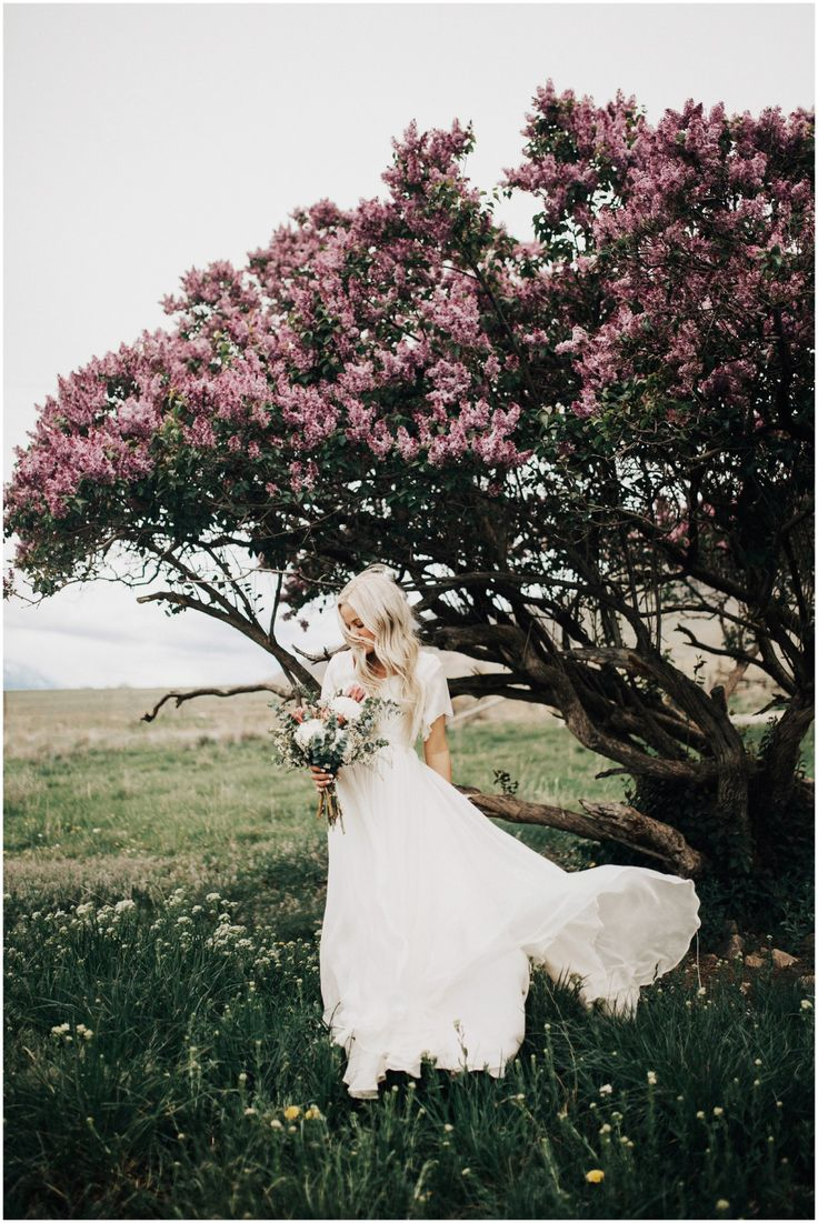 modest wedding dress with flutter sleeves and a flowing skirt from alta moda (modest bridal gown)