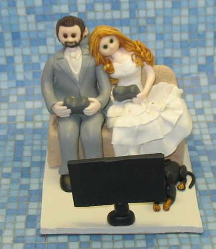 I do wedding cake toppers, and cake toppers for all occasions. The listed price is for a bride and groom only. Please contact me for an exact quote for your topper.  I can add just about...@ artfire