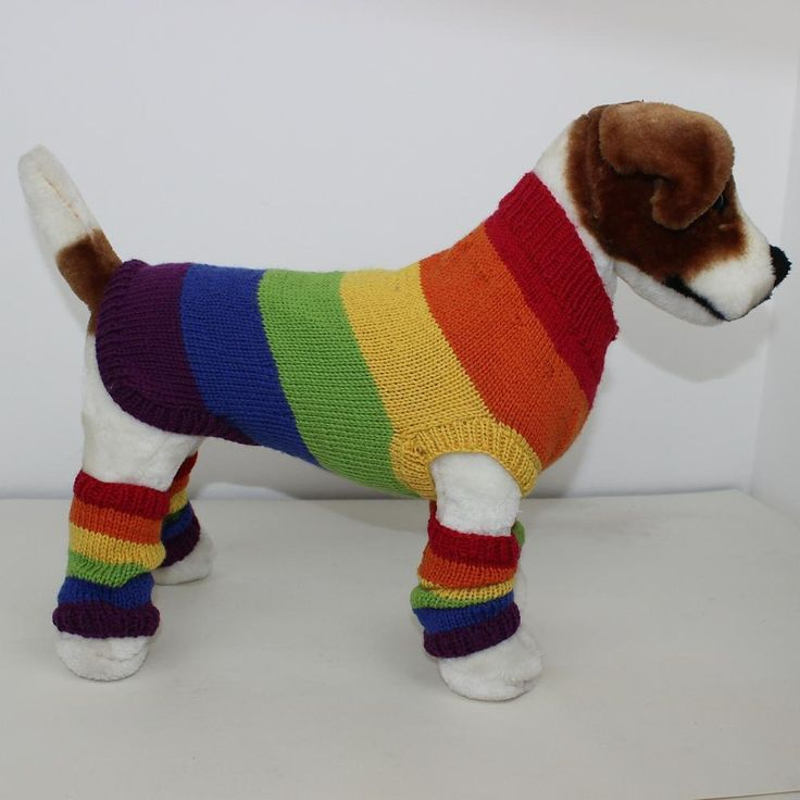 This is my Rainbow Dog Coat and Legwarmers knitting pattern. This fantastic outfit will make your dog the talk of the park. The knitting pattern provides full instructions for 4 sizes: XS (tiny dog), S (small dog), M (medium dog) & L (large dog) and it is worked in the round on 4mm needles in any dk (or sport) yarn of your choice. This amazing knitting pattern is available to buy here as an immediate pdf download.