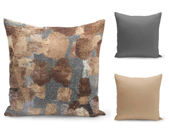 Neutral Pillow Covers Grey Tan Brown  Home Decor Accent