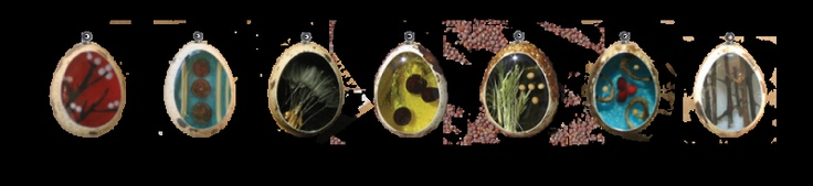 BOTANICALS  These are real quail eggs that are filled with resin and made into necklace pendants by J. Brooke Patterson