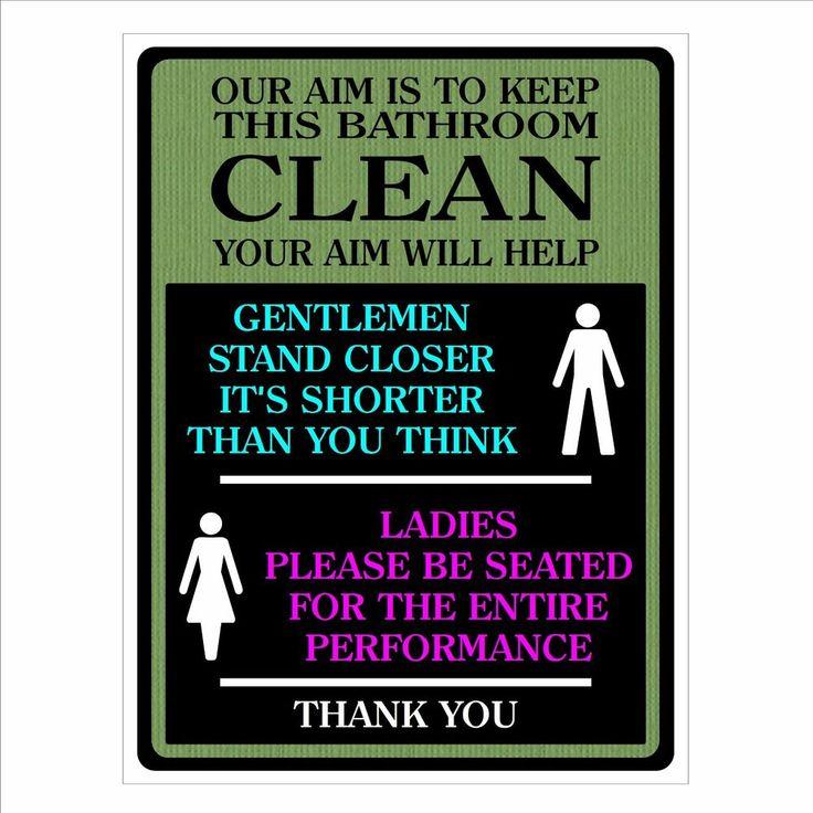 Funny toilet door sign. Stop the men peeing on the seat or floor