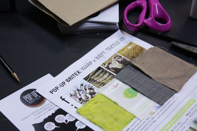 POP-UP BRITEX: Warp x Weft: textile 101 at Workshop SF--Swatch Book! We started with samples of cotton, silk, wool , and linen.