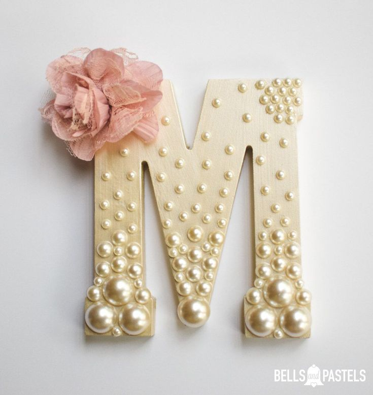 Decorative Wooden Letter for Baby Shower, Bridal Shower, or Nursery ~ 9 inch ~ Personalized with Assorted Pearls and Vintage Flower Detail by BellsAndPastels on Etsy https://www.etsy.com/listing/216373599/decorative-wooden-letter-for-baby-shower