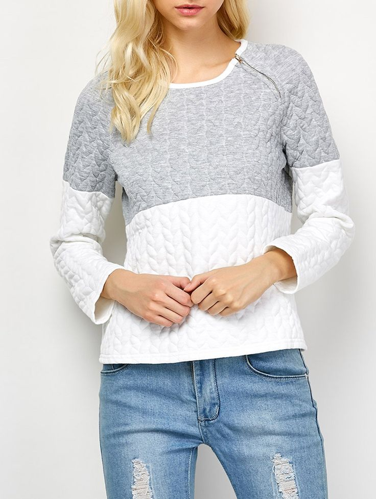 Zip Color Block Sweatshirt